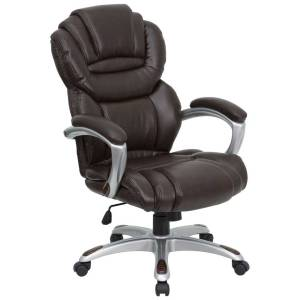 Brown-Leather-Executive-Desk-Chairs-with-Padded-Arms