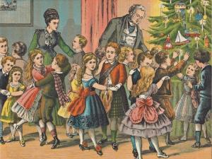 Woonkamer_vol_keurig_geklede_kinderen_die_bij_de_kerstboom_dansen